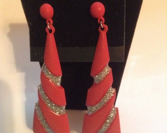 Holiday red sparkly pierced drop earrings