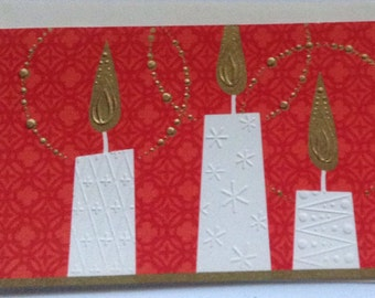 Vintage Christmas card with candles unused+env by Norcross
