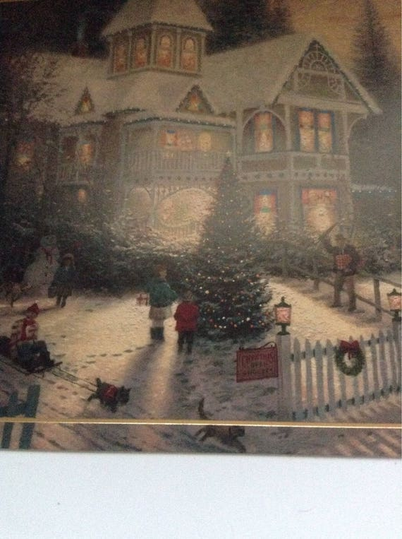 Thomas Kinkade Christmas.Vintage Thomas Kinkade Christmas Card Unused Env
