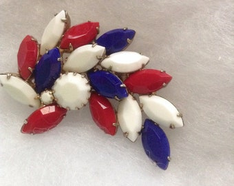 Juliana red white and blue brooch