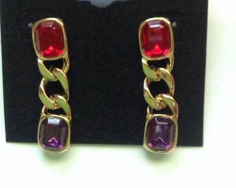 Vintage Pierced red and purple dangle earrings