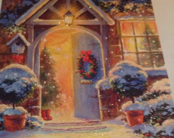 Christmas glittered card front door-warm glow- unused+env-