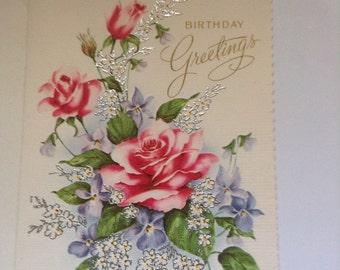 Birthday card roses shabby chic unused+env