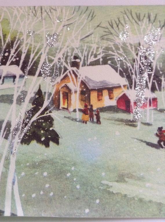 Admirable Christmas Card Glittered Snowy Town Unused Env Interior Design Ideas Skatsoteloinfo