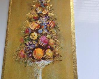 Vintage Christmas card HALLMARK tree of fruit unused+env