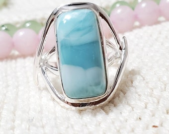 Dominican Larimar Teardrop and Cubic Zirconias Ring Size 8 Pearl Blue Gem 14K Whte Gold Plated 925 Silver Genuine Stone lovely beach bridal