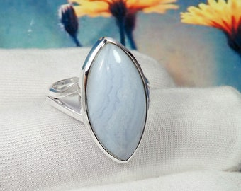 Wedding Gift 925 Pure Sterling Silver Cab Pear Blue Lace Agate Ring Beautiful Designs