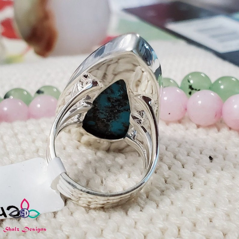 925 Silver Ring Anniversary Ring Canada z817 Big Stone Ring Gift For Her Sterling Silver Ring Chrysocolla Huge Ring Chrysocolla Ring