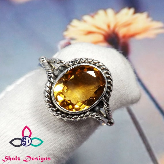 Natural AAA grade yellow Citrine Ring 925 Sterling Silver Statement Ring,Valentine Gift,Gift for her,Gift for Girlfriend,Gifts for women