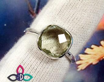 Green Amethyst Ring, Green Amethyst Gemstone, Plain Women Ring, Solid Silver Ring, Black Friday Sale, Officewear Ring, Engagement Rings,