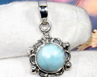 Larimar Pendant, Blue Stone Pendant, Designer Pendant, Small Pendant, 925 Silver Pendant, Women Pendant, Wedding Pendant, Gift For Her,
