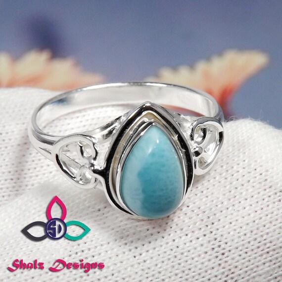 Handmade Ring Larimar Designer Ring 925 Sterling Silver Larimar Gemstone Ring Gift For Mother Larimar Stone Ring Natural Larimar Ring