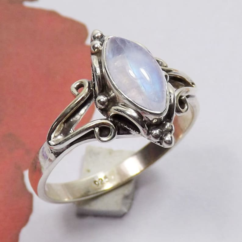Partywear Rings Perfect Gift For Her Blue Fire Rainbow Moonstone Ring 925 Silver Ring Designer Ring Jewellery Rainbow Moonstone Ring