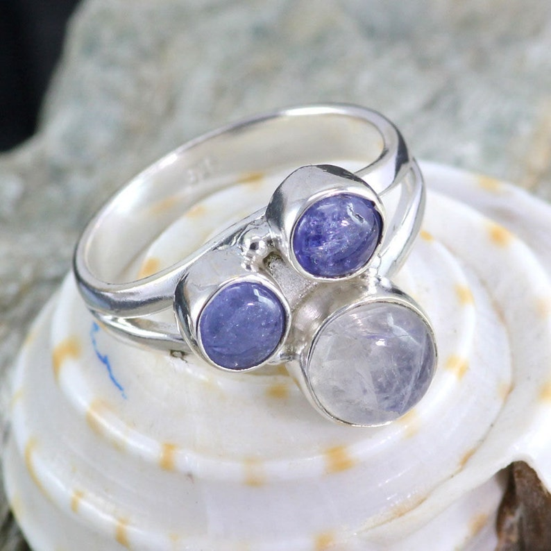Unique Ring Blue Fire Rainbow Ring Three Stone Ring Rainbow Moonstone Ring 925 Sterling Silver Partywear Ring Tanzanite Gemstone