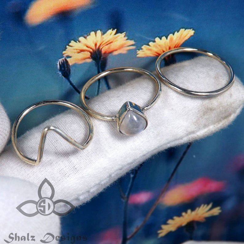 Partywear Ring Natural Moonstone Ring Stacking Ring Jewellery Solid Silver Ring Rainbow Ring Moonstone Ring Rainbow Moonstone Ring