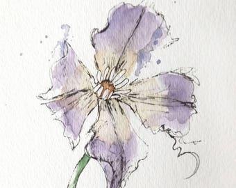 Purple Clematis Flower Original Watercolor Art Painting Pen and Ink Watercolor Hand Painted Flower