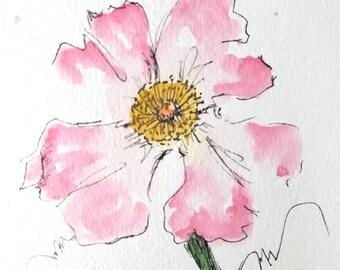 Rose Flower Original Watercolor Art Painting Pen and Ink Watercolor Art