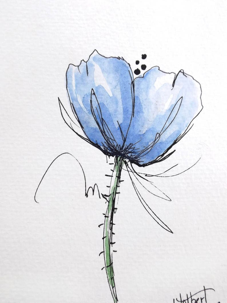Poppy Flower Blue Original Watercolor Art Painting Pen And Ink Etsy