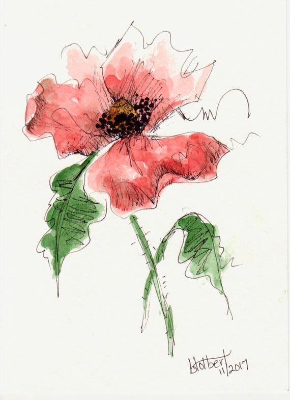 Original watercolor poppy flower art hand painted red poppy etsy image 0 mightylinksfo