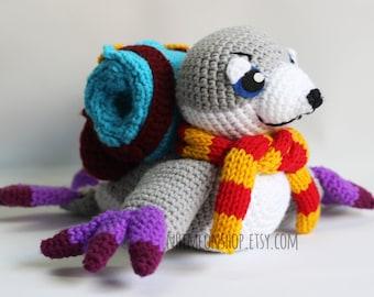 Serac the Seal Courier Dota 2 Chibi Plushie Amigurumi Stuffed Toy Doll Handmade Softies Gift Baby Crochet Knit Inspired Plush Characters