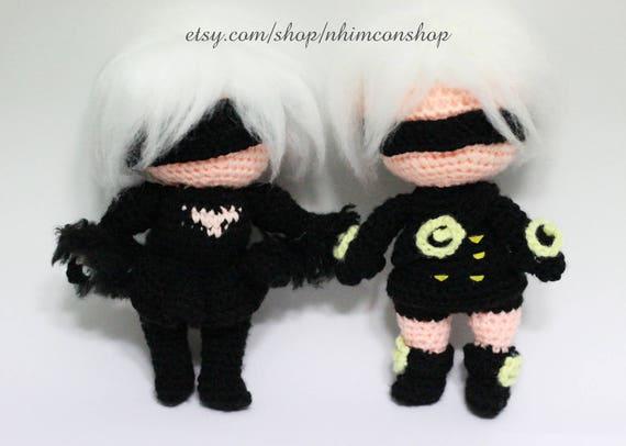 NieR automates YoRHa 2 b 9 Nier robe gothique Costume velours Chibi doudou Amigurumi peluche jouet poupée fait à la main Softies cadeau au Crochet inspiré
