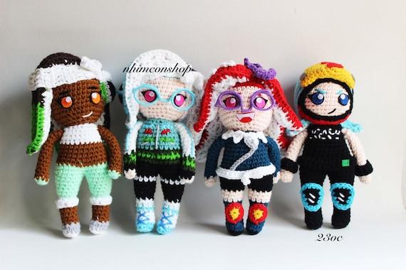 Splatoon Octoling Customize Character Chibi Plushie Amigurumi Stuffed Toy Doll Handmade Softies Gift Baby Crochet Knit Inspired Plush