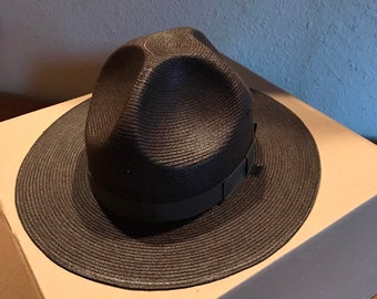d3bf1d40bf3 Stratton Hat Dark Brown Straw Vintage Size 7 One Half Self Forming Original  Box Style 40DB lcww