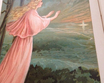 Antique Book Lithographed Buffalo New York Lead Kindly Light Christian Faith Gold Angel lcww