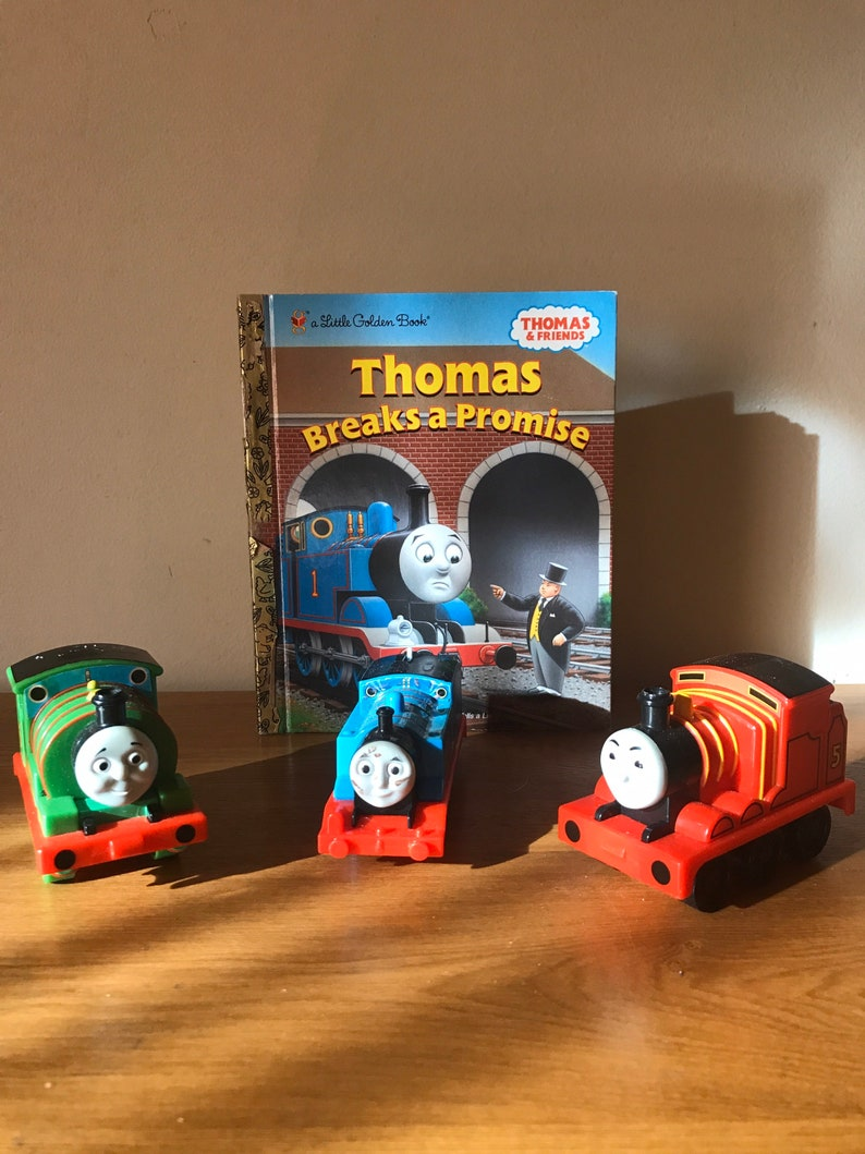 Thomas Train Cars Golden Book Thomas And Friends Titled Breaks A Promise Numbers Six Five One Blue Red Green lcww