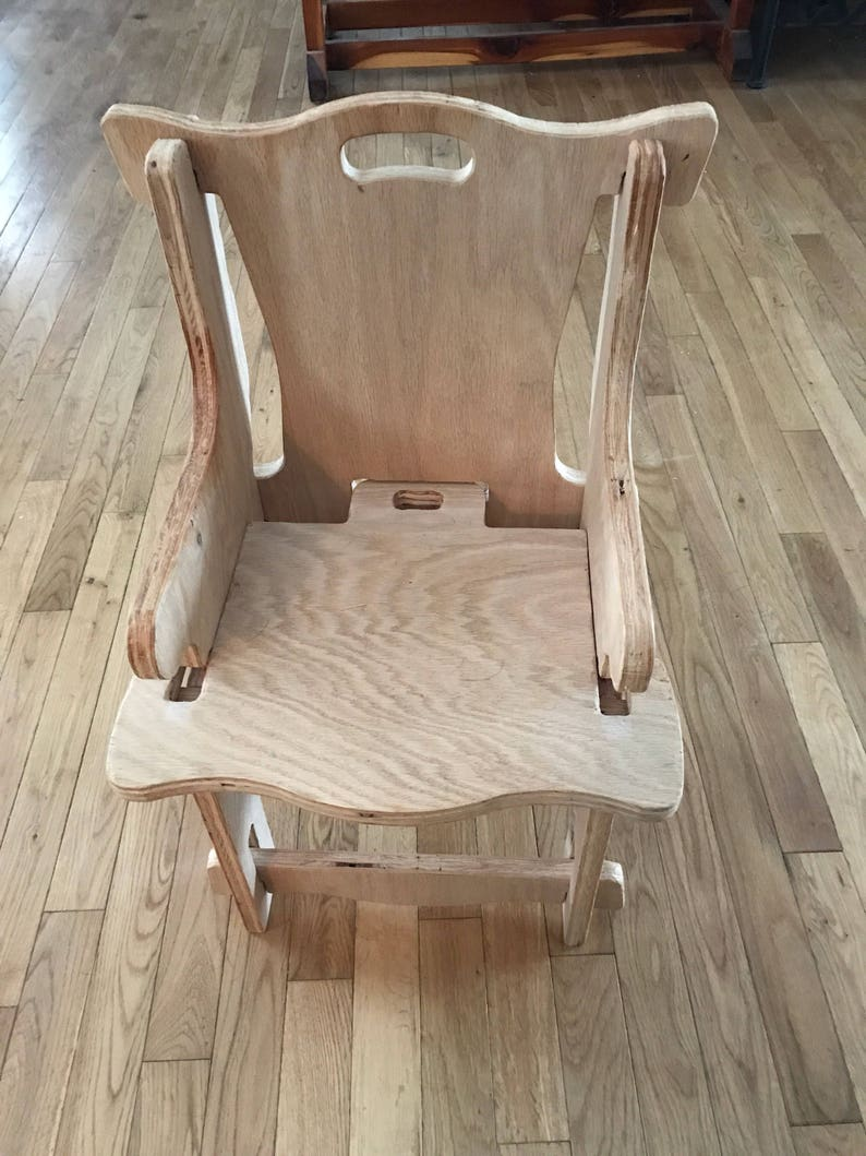 Puzzle Chair Primitive Wood Playroom Kitchen Nursery Furniture Shower Gift Space Saver Easy Assembly Unfinished Wood Original Design lcww