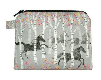Pretty Horse Coin Purse - Small Coin Purse - Padded Pouch - Zippered Pouch - Horse Purse - Animal Purse - Horse Change Purse - Tree Purse