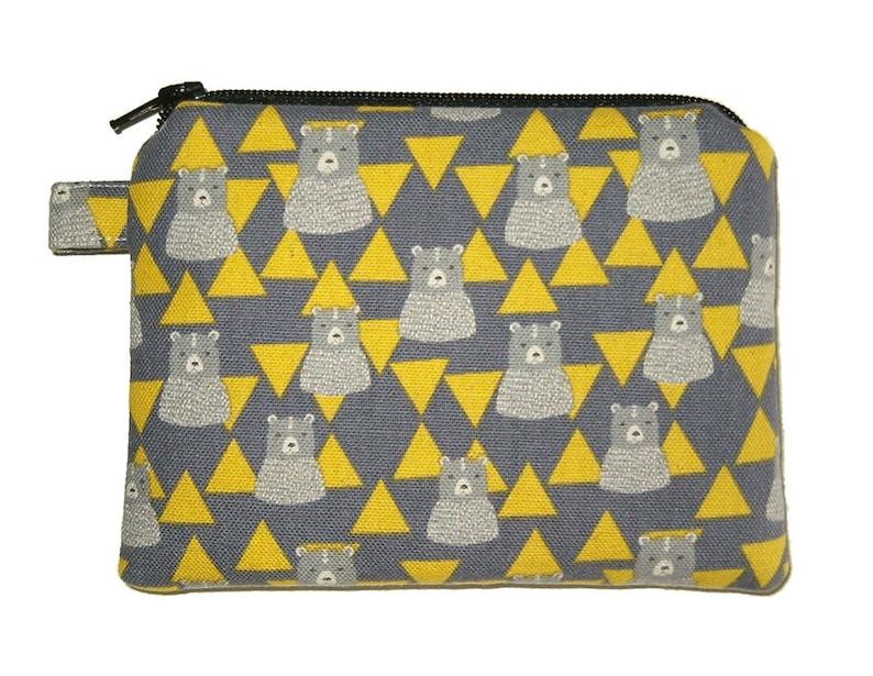 Small Padded Coin Purse Bear Purse Triangle Purse Animal Purse Grey Bear Zipper Pouch