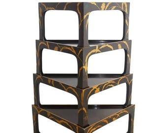Nest of Four Chinoiserie Lacquered Stacking Tray Tables