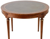 French Louis XVI Style Round Leather Top Game Table