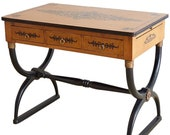 French Charles X Curule Leg Desk Writing Table