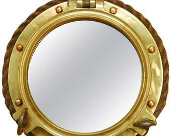 British Royal Navy Solid Brass Ships Porthole Rope Mirror