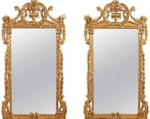 Pair of Neoclassical Louis XVI Style Giltwood Mirrors