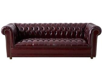 Tufted leather sofa   Etsy