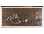 Japanese Four Panel Showa Period Tales of Genji Screen