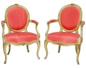 Pair of Louis XV Period Painted and Parcel Pink Gilt Fauteuils