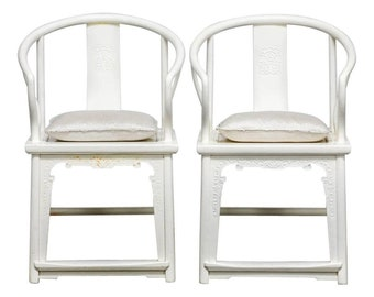 Quick View. Pair Of Lacquered Chinese Ming Style Horseshoe Chairs