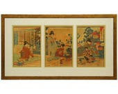 19th Century Watanabe Nobukazu Triptych Japanese Woodblock Print