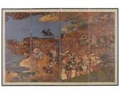 Japanese Four-Panel Edo Screen Battle of Yashima