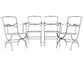 Set of Four French Neoclassical Curule Iron Garden Chairs