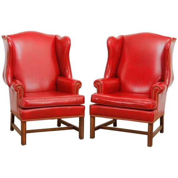 Peachy Pair Of Georgian Style Red Leather Wingback Library Chairs Spiritservingveterans Wood Chair Design Ideas Spiritservingveteransorg