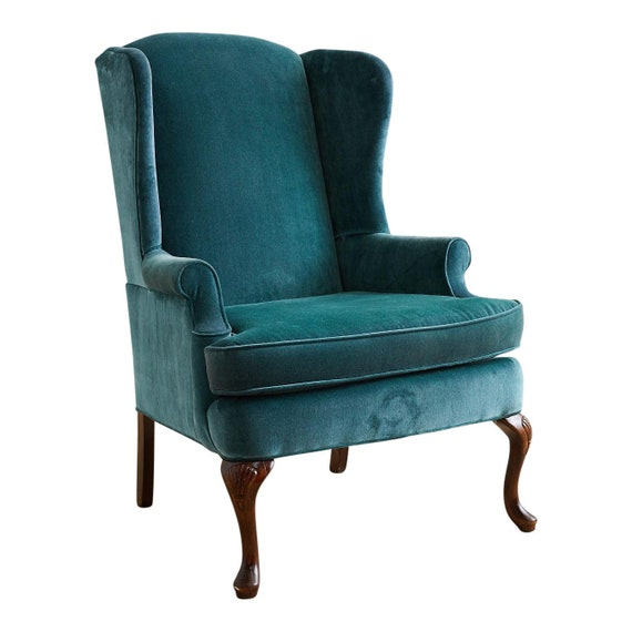 20th Century Queen Anne Teal Velvet Wingback Armchair | Etsy