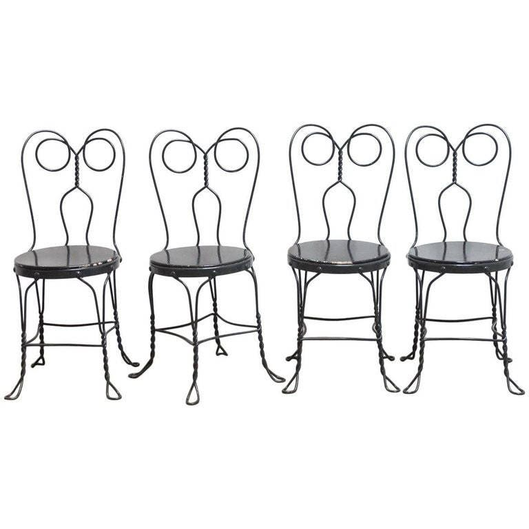 set of four metal bistro or ice cream parlor chairs etsy 50s Style Belts zoom