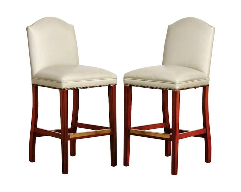 Groovy Pair Of Oyster Leather High Back Bar Stools Unemploymentrelief Wooden Chair Designs For Living Room Unemploymentrelieforg