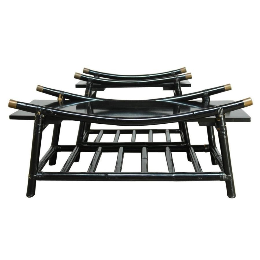 Black Wicker Coffee Table: Black Lacquer Rattan Coffee Table And Side Table