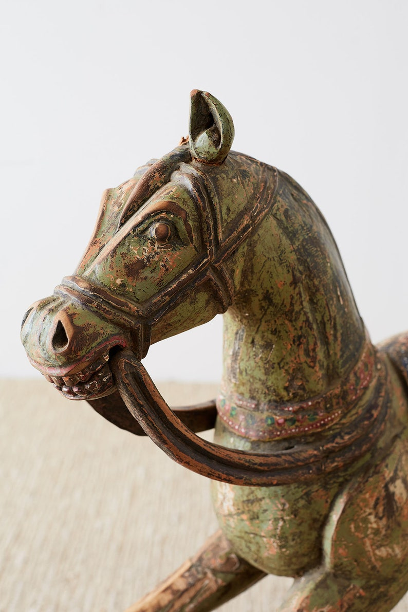 19th Century Romanian Polychrome Wooden Rocking Horse